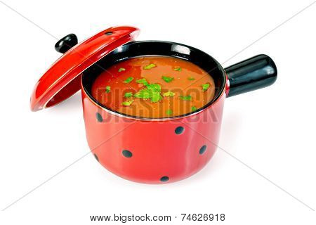 Soup tomato in red bowl with parsley