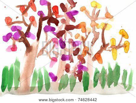 Children's drawing autumn park