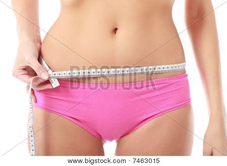 Woman Measure Tape Around Slim Beautiful Waist