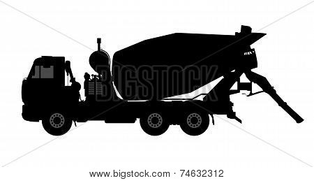 Silhouette of a concrete mixer.