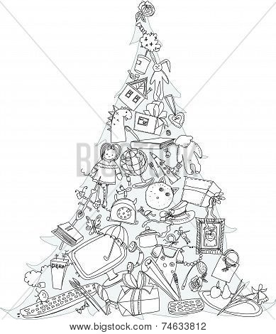 Christmas tree made of presents and toys. Doodle