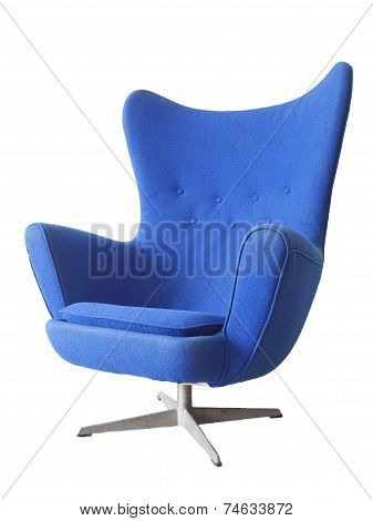 The modern blue armchair isolated on white background