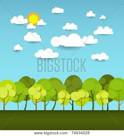 Abstract paper with sunshine- cloud and tree on light blue background