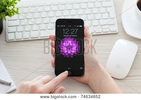 Girl Unlock Iphone 6 Space Gray Over The Table