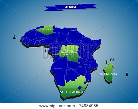 3 dimensional infographics political map of African continent, with every state easy selectable