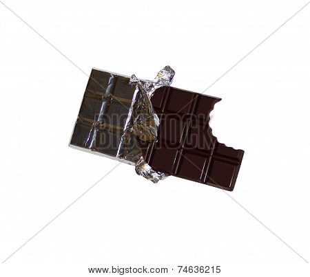 Bitten chocolate bar