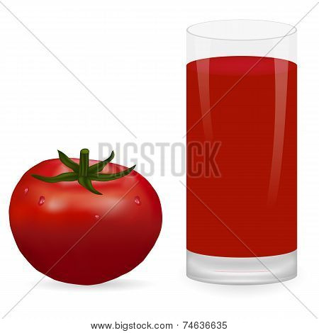 tomato and glass of tomato juice