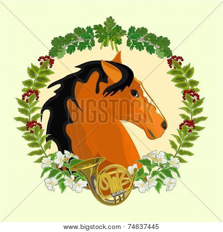 Dark Red Horse Hunting Theme Vector
