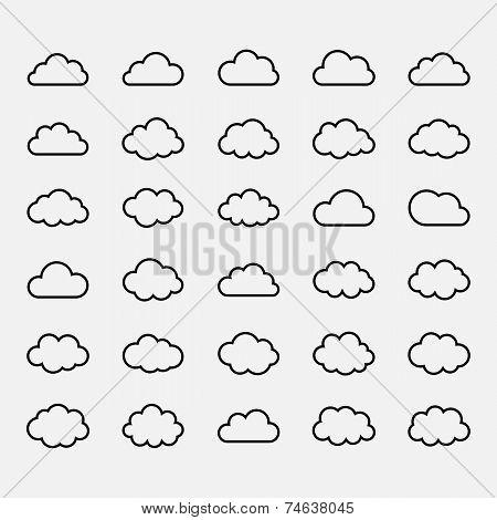 Big vector set black cloud shapes, icons