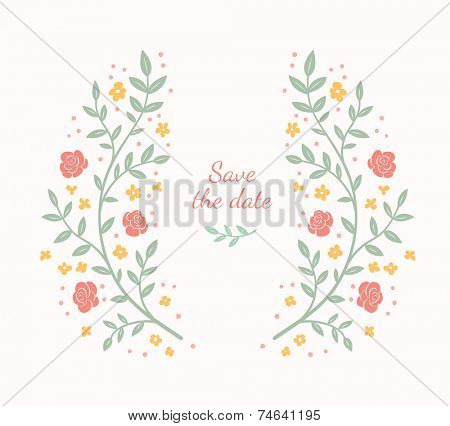 Floral frame. Cute retro flowers arranged in a shape of the wreath