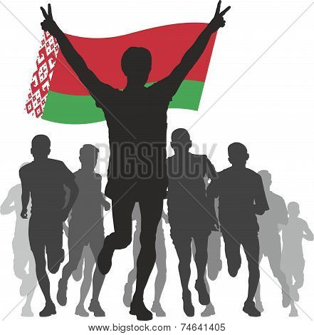 Winner with the Belarus flag at the finish