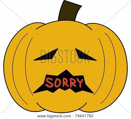 pumpkin face cartoon emotion expression regret