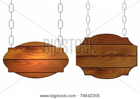 Hanging Wooden Signs On Metal Chain With Place For Text