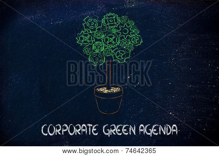 Gearwheel Tree, Surreal Interpretation Of Green Economy