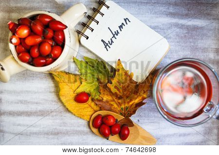 Hot Hip Tea With Berries On The Wood Background