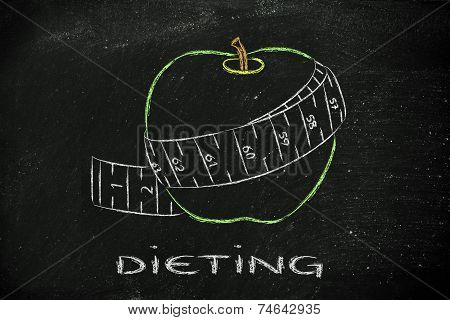 Apple With Measuring Tape, Concept Of Healthy Life