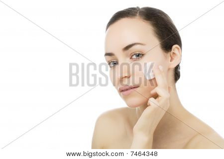 Young Woman With Beauty Care Cream