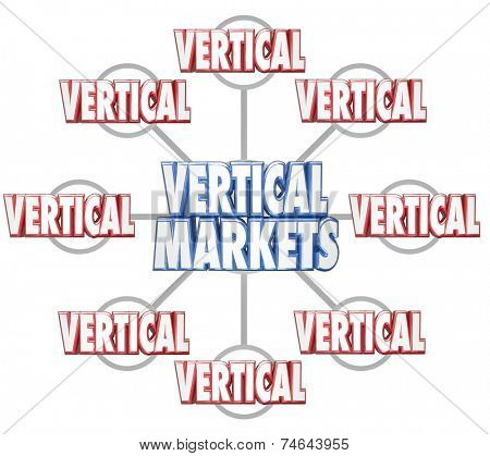 Vertical Markets 3d words on grid to illustrate specific sets of businesses in similar markets or niche industries