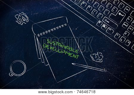 Desk With Keybord, Coffee And Business Documents About Renewable Energy