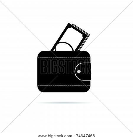 Wallet Black And White Vector Silhouette