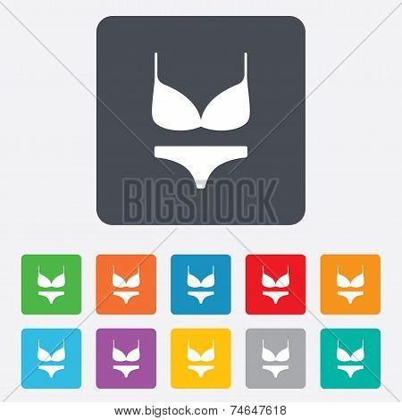 Women bra and panties icon. Intimates underwear.