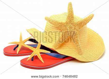 Beach Hat, Red Flip Flops With Starfish