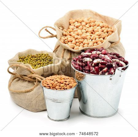 Chick-pea, Mung Beans, Kidney-beans In The Sacks Isolated On White