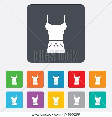 Women T-shirt sign icon. Intimates and camisole.
