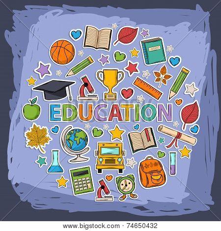 Vector doodle education set