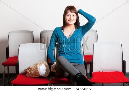 Surprised Young Woman Holding Hand On Head