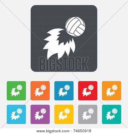 Volleyball fireball icon. Beach sport symbol.