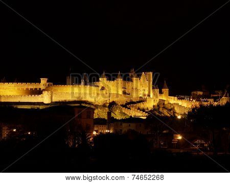 Carcassonne Fortified Town At Night, France