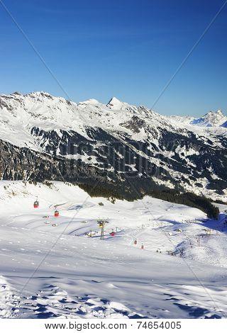 Cable Railway On Winter Sport Resort In Swiss Alps