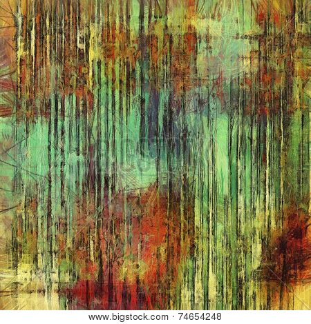 Rough vintage texture. With different color patterns: brown, orange, green, yellow