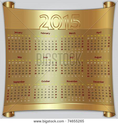 Calendar 2015 vector Sunday first american week 12 months golden metallic
