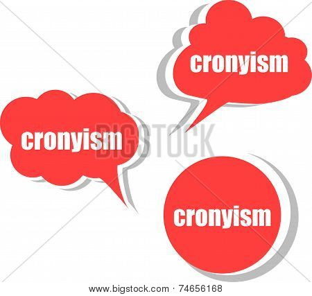 Cronyism. Set Of Stickers, Labels, Tags. Template For Infographics