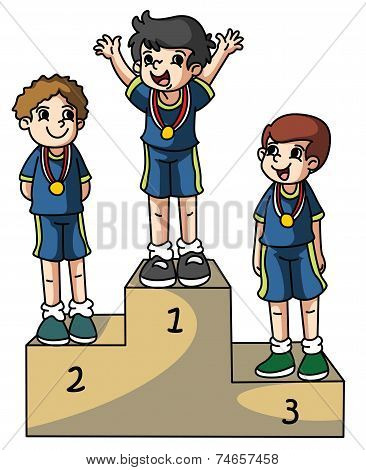Winners with medals vector illustration