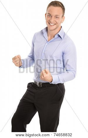 Portrait: Isolated successful young smart businessman cheering and happy.
