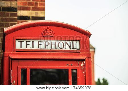 Closeup Traditional Red Telephone Box In Uk