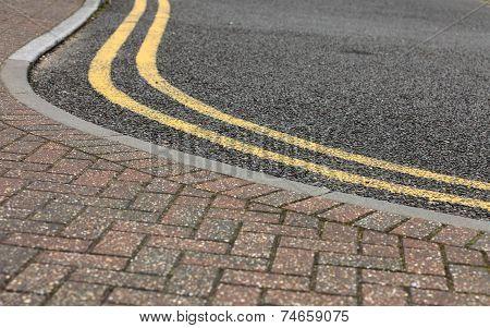 Footpath Pavement Sidewalk With Traffic Lines