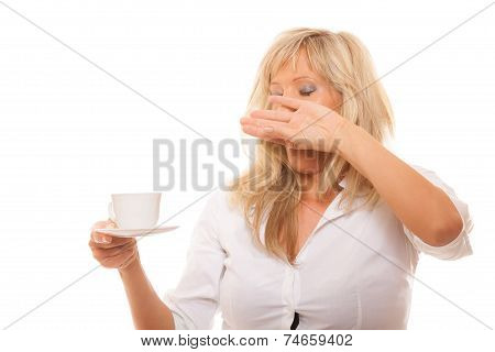 Sleepy Tired Woman Yawning Holds Cup Of Coffee