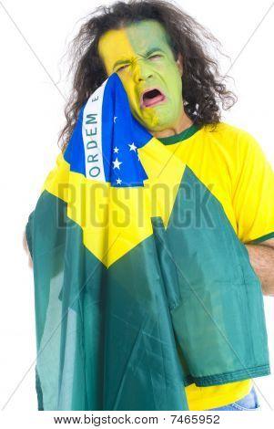 traurig brasilianischen supporter