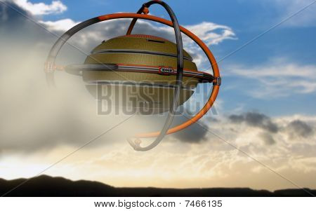 UFO rides the clouds