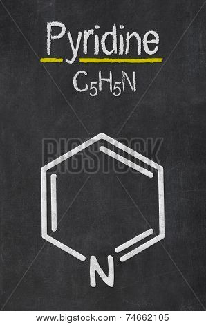 Blackboard with the chemical formula of Pyridine