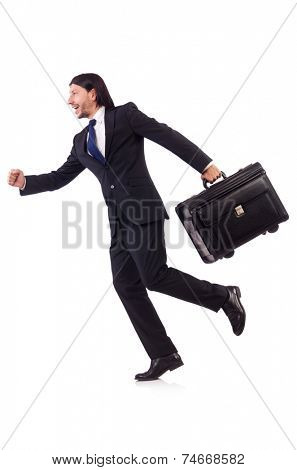 Businessman on business trip with luggage