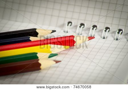 Spiral Notepad With Set Of Color Pencils.