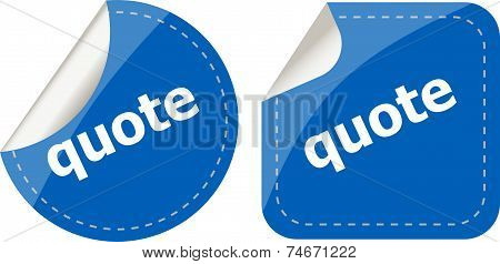 Get Quote Stickers Set Isolated On White