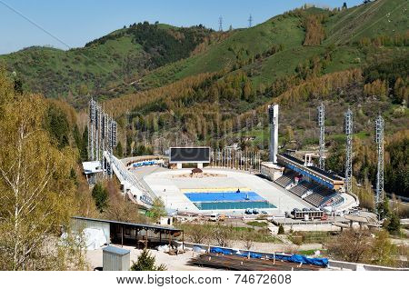 Medeo Stadium. Outdoor Speed Skating And Bandy Rink In A Mountain Valley
