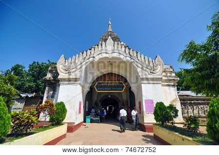 Bagan, Myanmar - October 9, 2013: Buddhist People Visit Ananda Temple