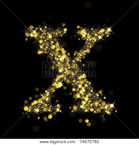 Sparkling Letter X on black background. Alphabet of golden glittering stars (glittering font concept). Christmas holiday illustration of bokeh shining stars character..